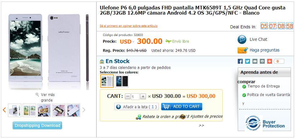 Ulefone P6 MTK6589T 1,5 GHz