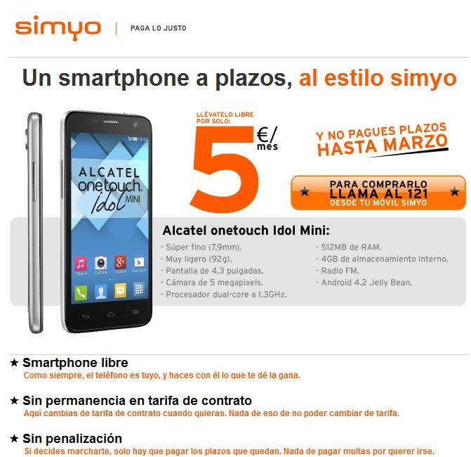 El primer smartphone de simyo que se paga a plazos