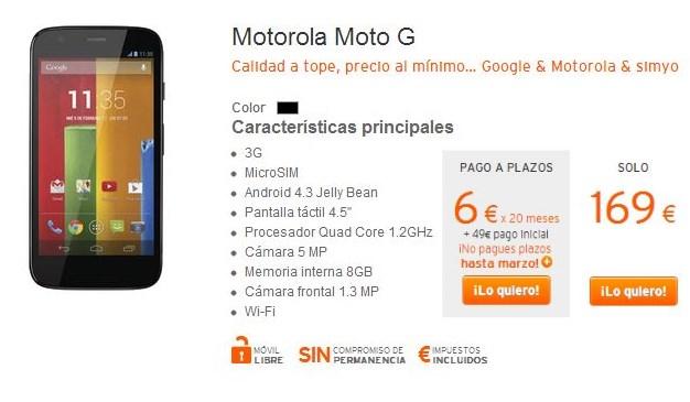 Motorola Moto G en simyo