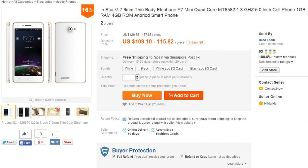 Elephone P7 Mini Quad Core