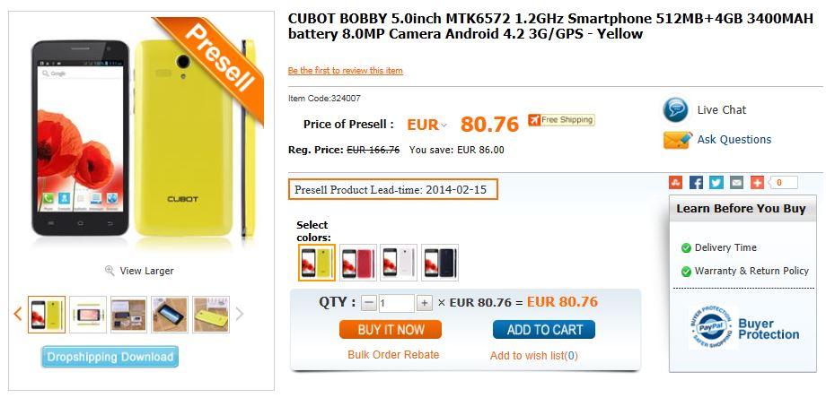 CUBOT BOBBY 5.0inch