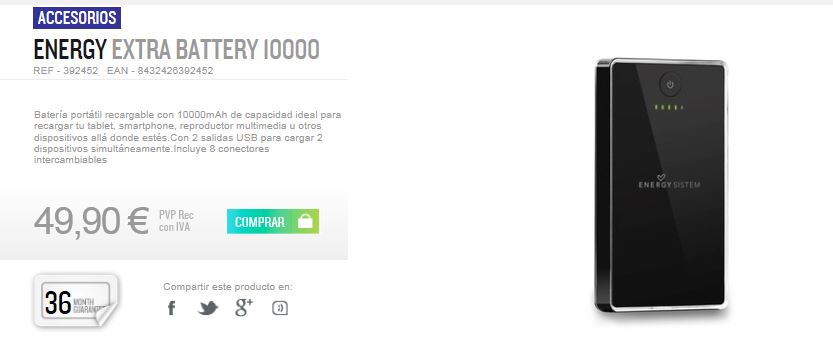 Energy Extra Battery 10000