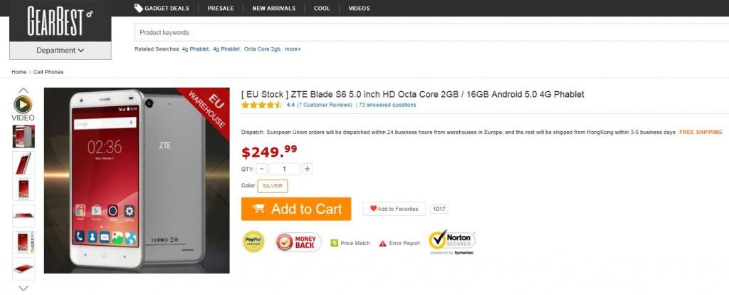 ZTE Blade S6 Gearbest