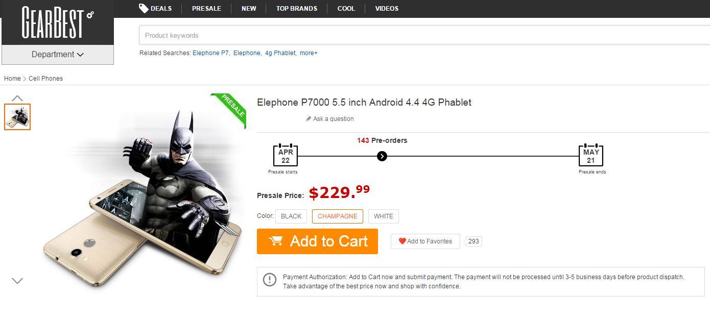 Preventa Elephone P7000