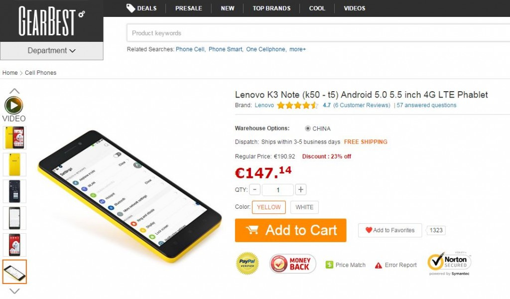 Lenovo K3 Note Gearbest