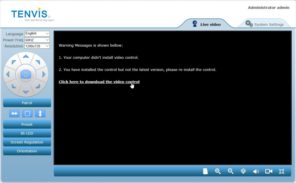 IPCamera Admin controlador