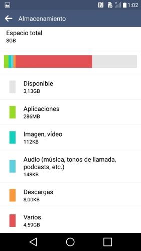 almacenamiento LG G4C