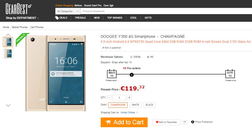 DOOGEE Y300 GearBest