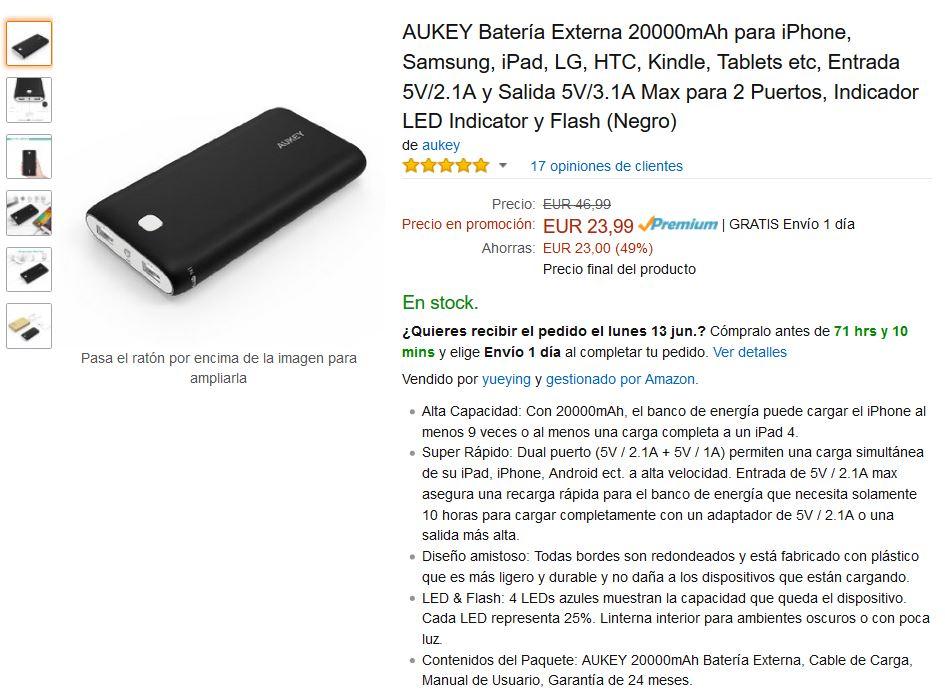 AUKEY Batería Externa 20000mAh