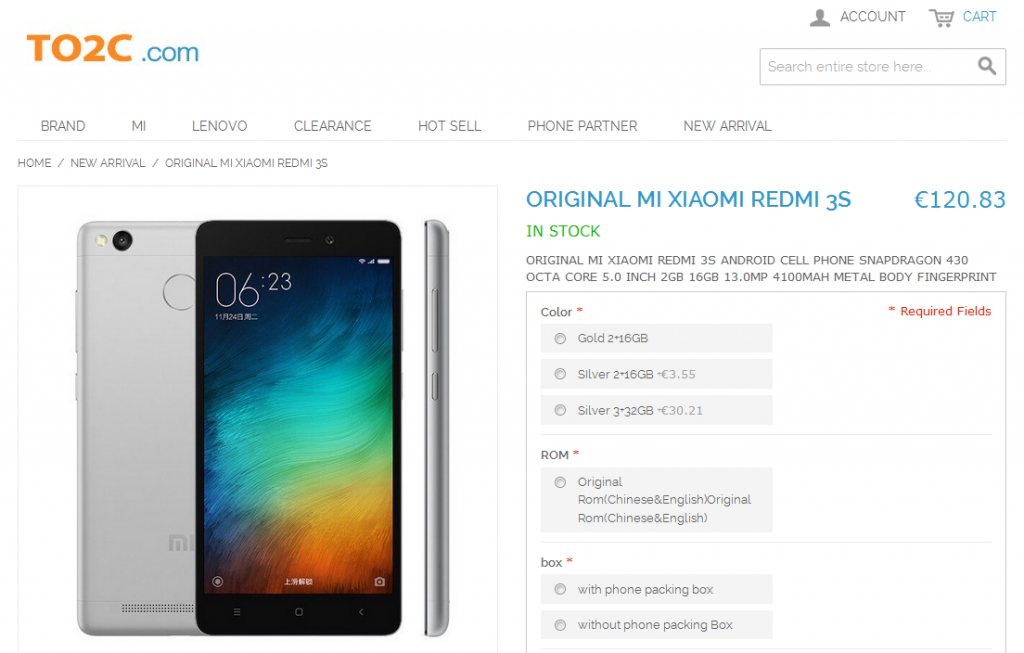 Original MI Xiaomi Redmi 3S TO2C