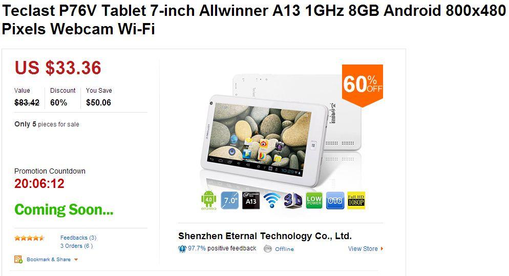 AliExpress Gaga Deals Teclast P76V Tablet 7-inch Allwinner A13