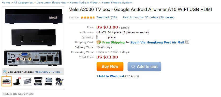 Mele A2000 TV box